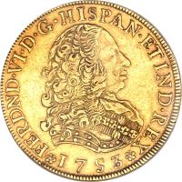 obverse of 8 Escudos - Fernando VI - Colonial Milled Coinage (1751 - 1753) coin with KM# 50 from Peru.