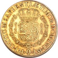 reverse of 8 Escudos - Fernando VI - Colonial Milled Coinage (1751 - 1753) coin with KM# 50 from Peru.