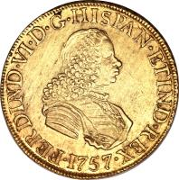 obverse of 8 Escudos - Fernando VI - Colonial Milled Coinage (1754 - 1760) coin with KM# 59 from Peru.