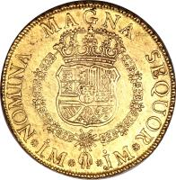 reverse of 8 Escudos - Fernando VI - Colonial Milled Coinage (1754 - 1760) coin with KM# 59 from Peru.