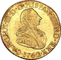 obverse of 8 Escudos - Carlos III - Colonial Milled Coinage (1761 - 1762) coin with KM# 68 from Peru.