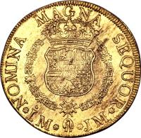 reverse of 8 Escudos - Carlos III - Colonial Milled Coinage (1761 - 1762) coin with KM# 68 from Peru.