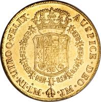 reverse of 8 Escudos - Carlos III - Colonial Milled Coinage (1763 - 1768) coin with KM# 70 from Peru.