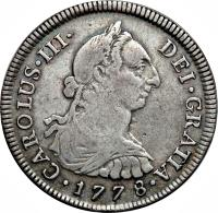 obverse of 4 Reales - Carlos III (1772 - 1784) coin with KM# 77 from Peru.