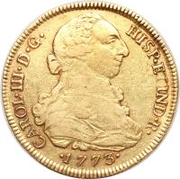 obverse of 8 Escudos - Carlos III - Colonial Milled Coinage (1772 - 1784) coin with KM# 82 from Peru.