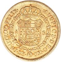 reverse of 8 Escudos - Carlos III - Colonial Milled Coinage (1772 - 1784) coin with KM# 82 from Peru.