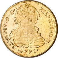 obverse of 8 Escudos - Carlos IV - Colonial Milled Coinage (1789 - 1791) coin with KM# 92 from Peru.