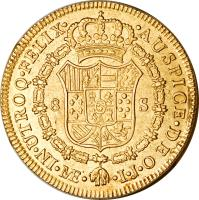 reverse of 8 Escudos - Carlos IV - Colonial Milled Coinage (1789 - 1791) coin with KM# 92 from Peru.