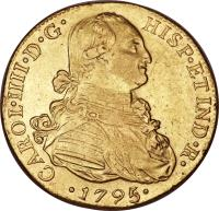 obverse of 8 Escudos - Carlos IV - Colonial Milled Coinage (1792 - 1808) coin with KM# 101 from Peru.