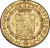 reverse of 8 Escudos - Carlos IV - Colonial Milled Coinage (1792 - 1808) coin with KM# 101 from Peru.