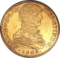 obverse of 8 Escudos - Fernando VII - Colonial Milled Coinage (1808 - 1811) coin with KM# 107 from Peru.
