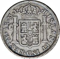 obverse of 4 Reales - Carlos III (1785 - 1789) coin with KM# 77a from Peru. Inscription: CAROLUS · III · DEI · GRATIA ·