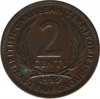 reverse of 2 Cents - Elizabeth II - 1'st Portrait (1955 - 1965) coin with KM# 3 from Eastern Caribbean States. Inscription: BRITISH CARIBBEAN TERRITORIES 2 CENTS 1955 · EASTERN GROUP ·