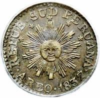obverse of 1/2 Real - South Peru (1837 - 1838) coin with KM# 168 from Peru. Inscription: REPUB SUD PERUANA AREQ 1837