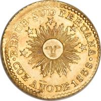 obverse of 1 Escudo - South Peru (1838) coin with KM# 174 from Peru.