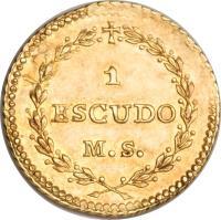 reverse of 1 Escudo - South Peru (1838) coin with KM# 174 from Peru.