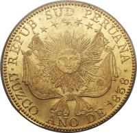 obverse of 8 Escudos - South Peru, confederation (1837 - 1838) coin with KM# 171 from Peru.