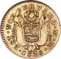 obverse of 1 Escudo - North Peru (1838) coin with KM# 160 from Peru.