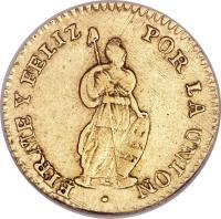 reverse of 1 Escudo - North Peru (1838) coin with KM# 160 from Peru.