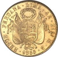 obverse of 4 Escudos (1828 - 1855) coin with KM# 150 from Peru.