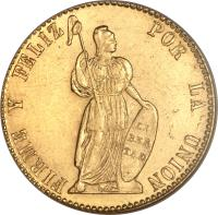 reverse of 4 Escudos (1828 - 1855) coin with KM# 150 from Peru.