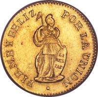 reverse of 1 Escudo (1826 - 1855) coin with KM# 147 from Peru.