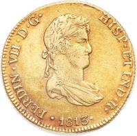 obverse of 8 Escudos - Fernando VII - Colonial Milled Coinage (1812 - 1813) coin with KM# 124 from Peru.