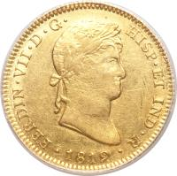 obverse of 4 Escudos - Fernando VII - Colonial Milled Coinage (1814 - 1821) coin with KM# 128 from Peru.