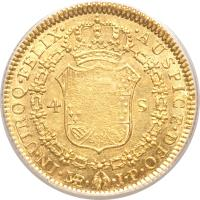 reverse of 4 Escudos - Fernando VII - Colonial Milled Coinage (1814 - 1821) coin with KM# 128 from Peru.