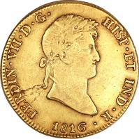obverse of 8 Escudos - Fernando VII - Colonial Milled Coinage (1814 - 1824) coin with KM# 129 from Peru.