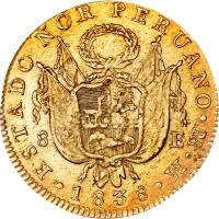 obverse of 8 Escudos - North Peru (1836 - 1838) coin with KM# 156 from Peru.