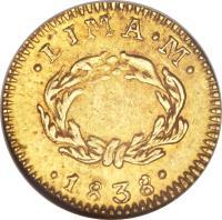 reverse of 1/2 Escudo - North Peru (1838) coin with KM# 159 from Peru. Inscription: LIMA M 1838