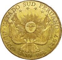 obverse of 8 Escudos - South Peru (1837) coin with KM# 167 from Peru. Inscription: ESTADO SUD PERUANO . CUZCO ANO DE 1837 .