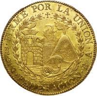 reverse of 8 Escudos - South Peru (1837) coin with KM# 167 from Peru. Inscription: FIRME POR LA UNION .8E.21.Q.FEDERACION.B.A.