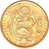 obverse of 8 Escudos - Transitional Coinage (1862 - 1863) coin with KM# 183 from Peru. Inscription: REPUBLICA PERUANA LIMA 21 QUILATES Y B 1863