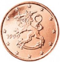 obverse of 1 Euro Cent (1999 - 2014) coin with KM# 98 from Finland. Inscription: 1999 M