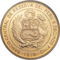 obverse of 1 Sol de Oro - Battle of Ayacucho (1976) coin with KM# 269 from Peru. Inscription: Banco central del peru 9 decimos fino 1976
