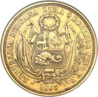 obverse of 10 Soles - South Peru (1863) coin with KM# 193 from Peru.
