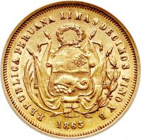 obverse of 5 Soles - South Peru (1863) coin with KM# 192 from Peru.