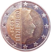obverse of 2 Euro - Henri I - 1'st Map (2002 - 2006) coin with KM# 82 from Luxembourg. Inscription: LËTZEBUERG 2002 GC