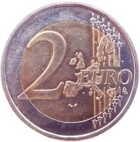 reverse of 2 Euro - Henri I - 1'st Map (2002 - 2006) coin with KM# 82 from Luxembourg. Inscription: 2 EURO LL