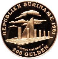 obverse of 100 Gulden - 1st Anniversary of Revolution (1981) coin with KM# 20 from Suriname. Inscription: REPUBLIEK SURINAME 1981 500/1000 FINE GOLD * 200 GULDEN