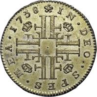 obverse of 5 Öre Silfwermynt - Frederick I (1729 - 1751) coin with KM# 401 from Sweden. Inscription: IN.DEO.SPES.MEA.1738