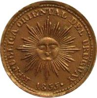 obverse of 5 Centesimos (1855) coin with KM# 6 from Uruguay. Inscription: REPUBLICA ORIENTAL DEL URUGUAY 1855