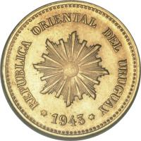 obverse of 2 Centesimos (1943) coin with KM# Pn44 from Uruguay. Inscription: REPUBLICA ORIENTAL DEL URUGUAY 1943