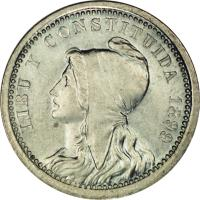 obverse of 5 Centavos (1899) coin with KM# PnA34 from Uruguay. Inscription: LIBU Y CONSTITUIDA 1899