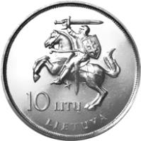 obverse of 10 Litų - Visit of Pope John Paul II to Lithuania (1993) coin with KM# 95 from Lithuania. Inscription: 10 LITŲ LIETUVA