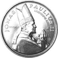 reverse of 10 Litų - Visit of Pope John Paul II to Lithuania (1993) coin with KM# 95 from Lithuania. Inscription: JONAS PAULIUS II LIUDYKIME KRISTŲ MCMXCIII