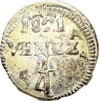 reverse of 1/4 Real (1821 - 1822) coin with C# 31 from Venezuela. Inscription: 1821 VENEZ.A ¼
