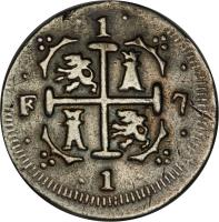 reverse of 1 Real - Fernando VII (1817 - 1821) coin with C# 5 from Venezuela.